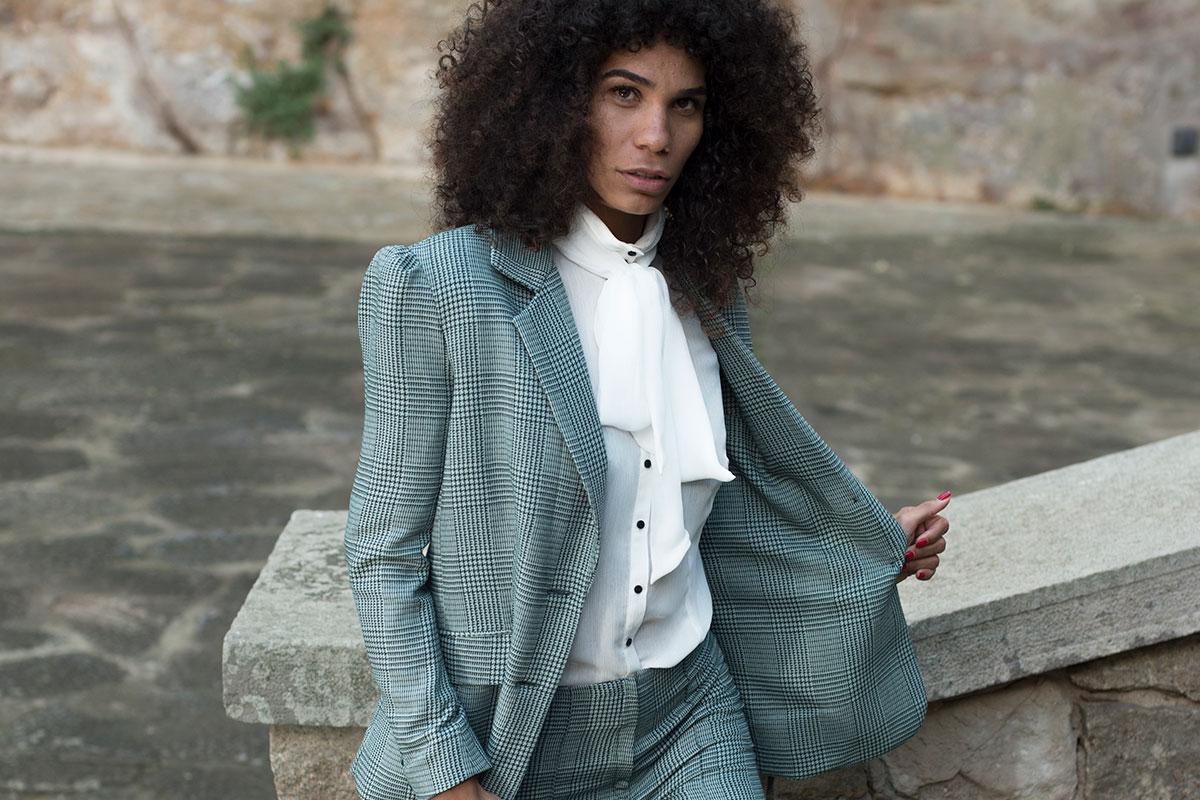 Blazier traje chaqueta masculino en vichy de IO DREAMS moda sostenible