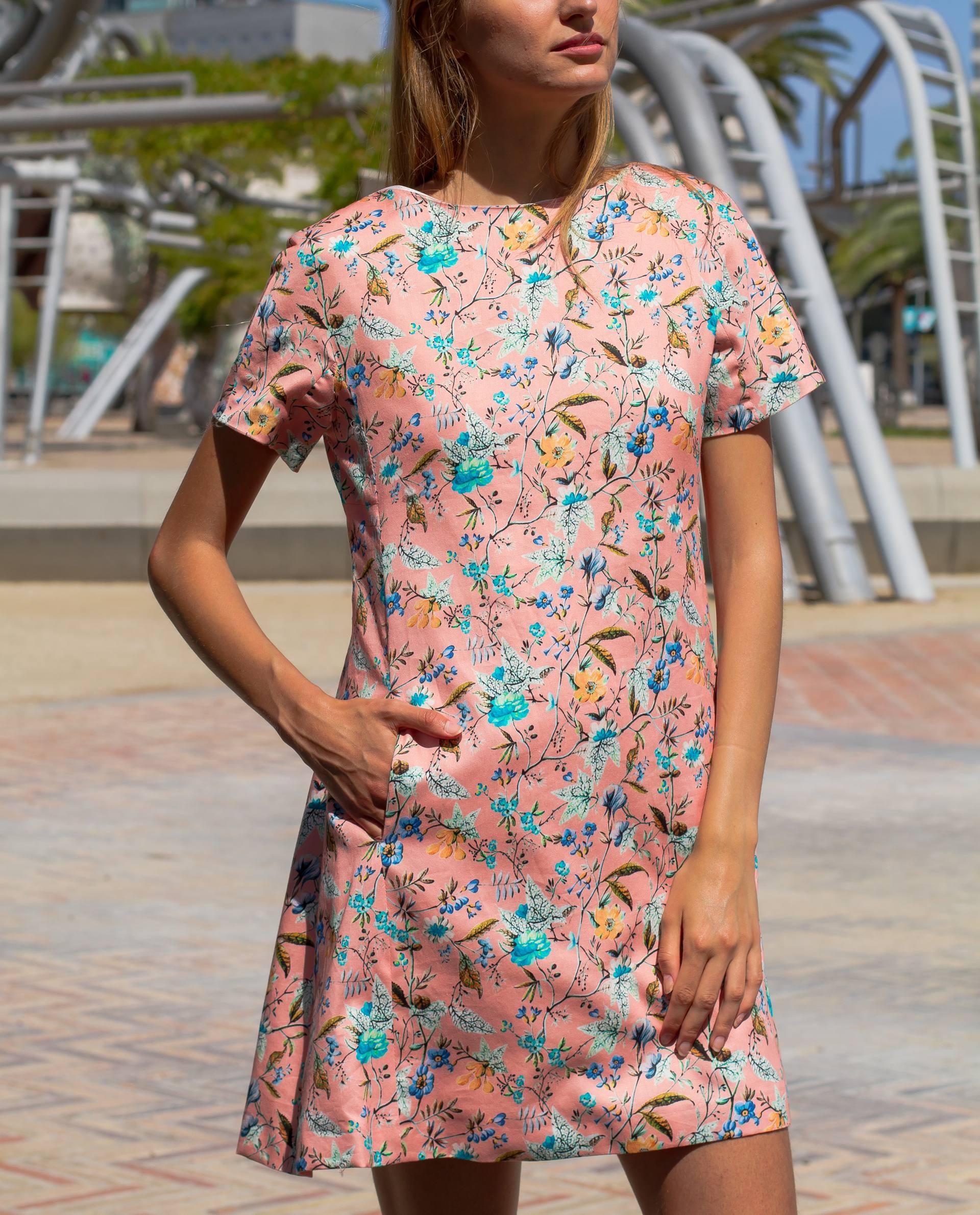 PRÊT À PORTER-SPRING/SUMMER 2018 - VESTIDOS - vestido de algodón rosa con estampado floral