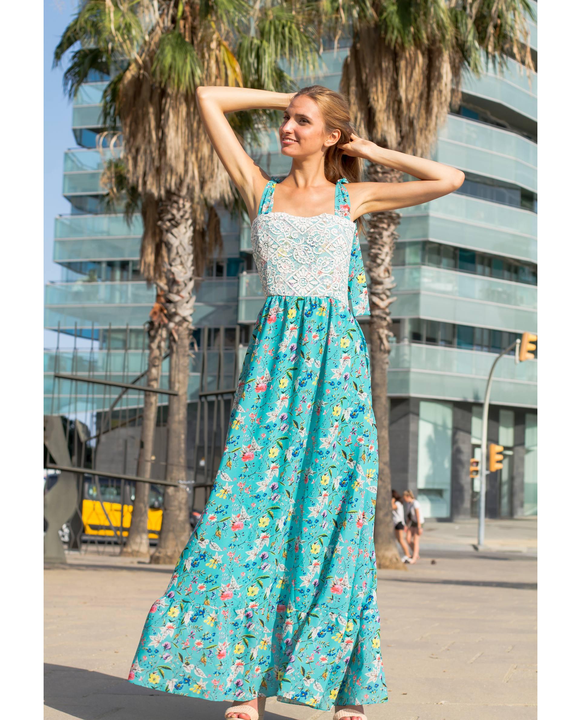 Maxi vestido Santorini de georgette con estampado floral