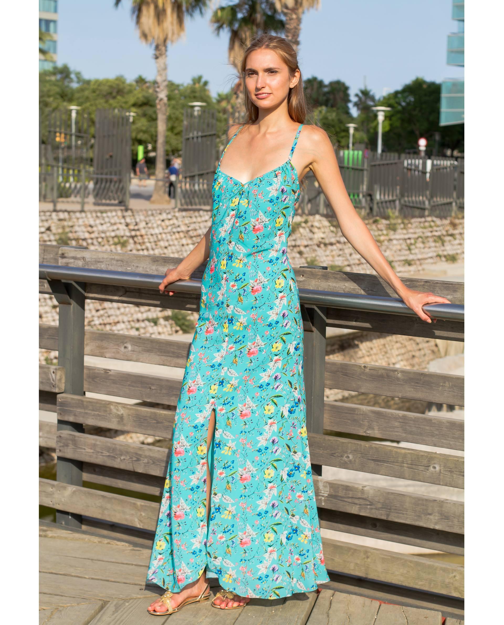 Maxi vestido de georgette con estampado floral azul
