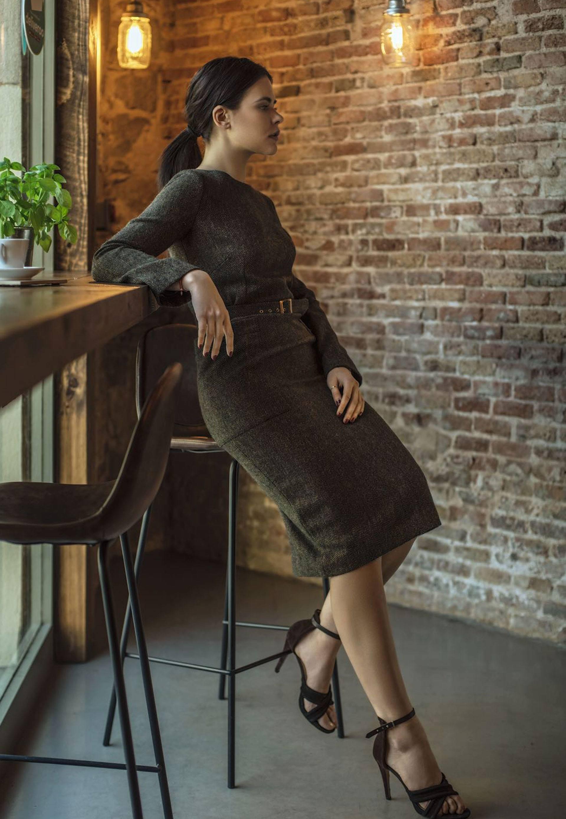 Vestido cintura alta lana midi