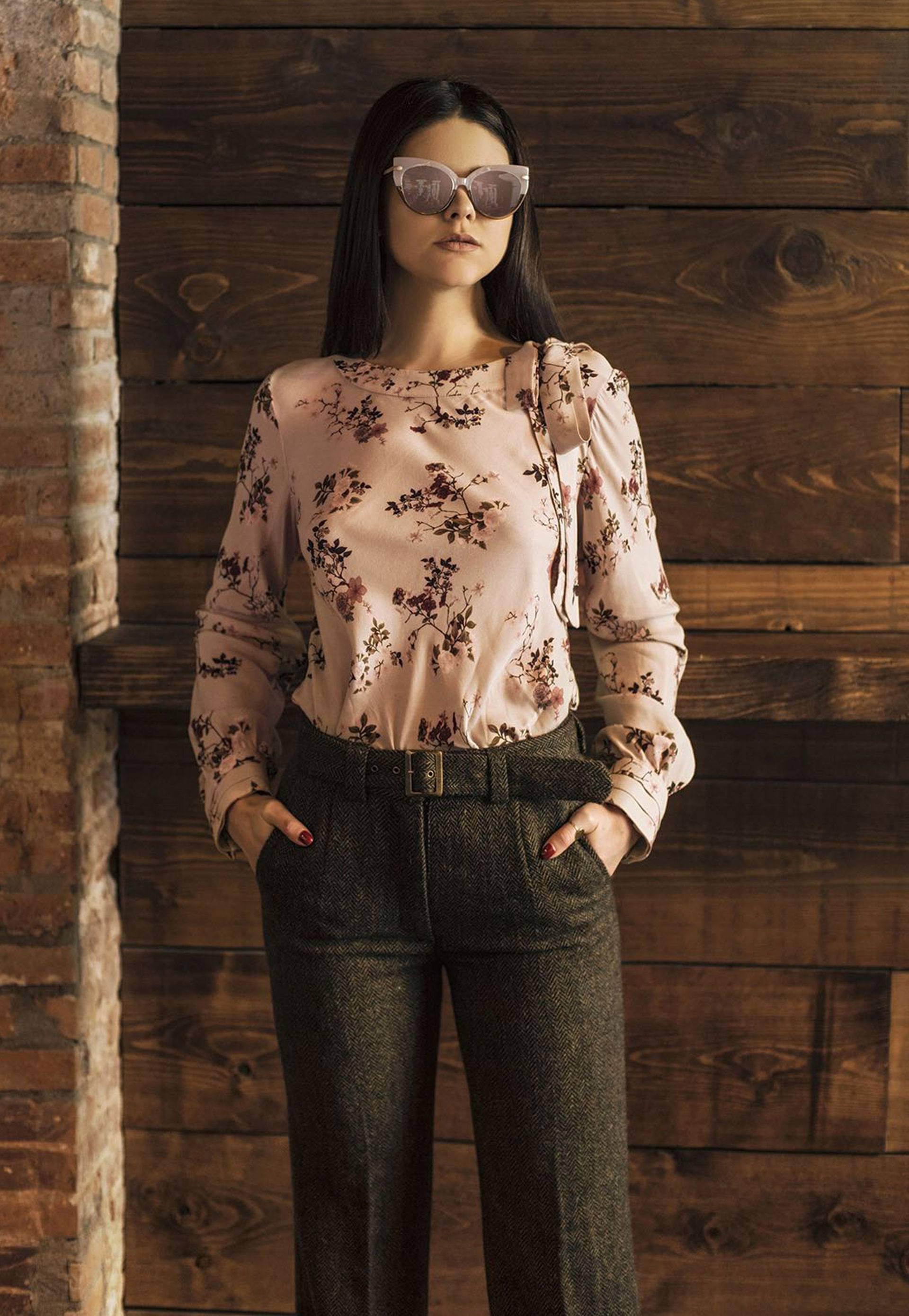 PRÊT À PORTER-CÁPSULA IO WINTER 18 - TOPS - Blusa print floral rosa empolvado
