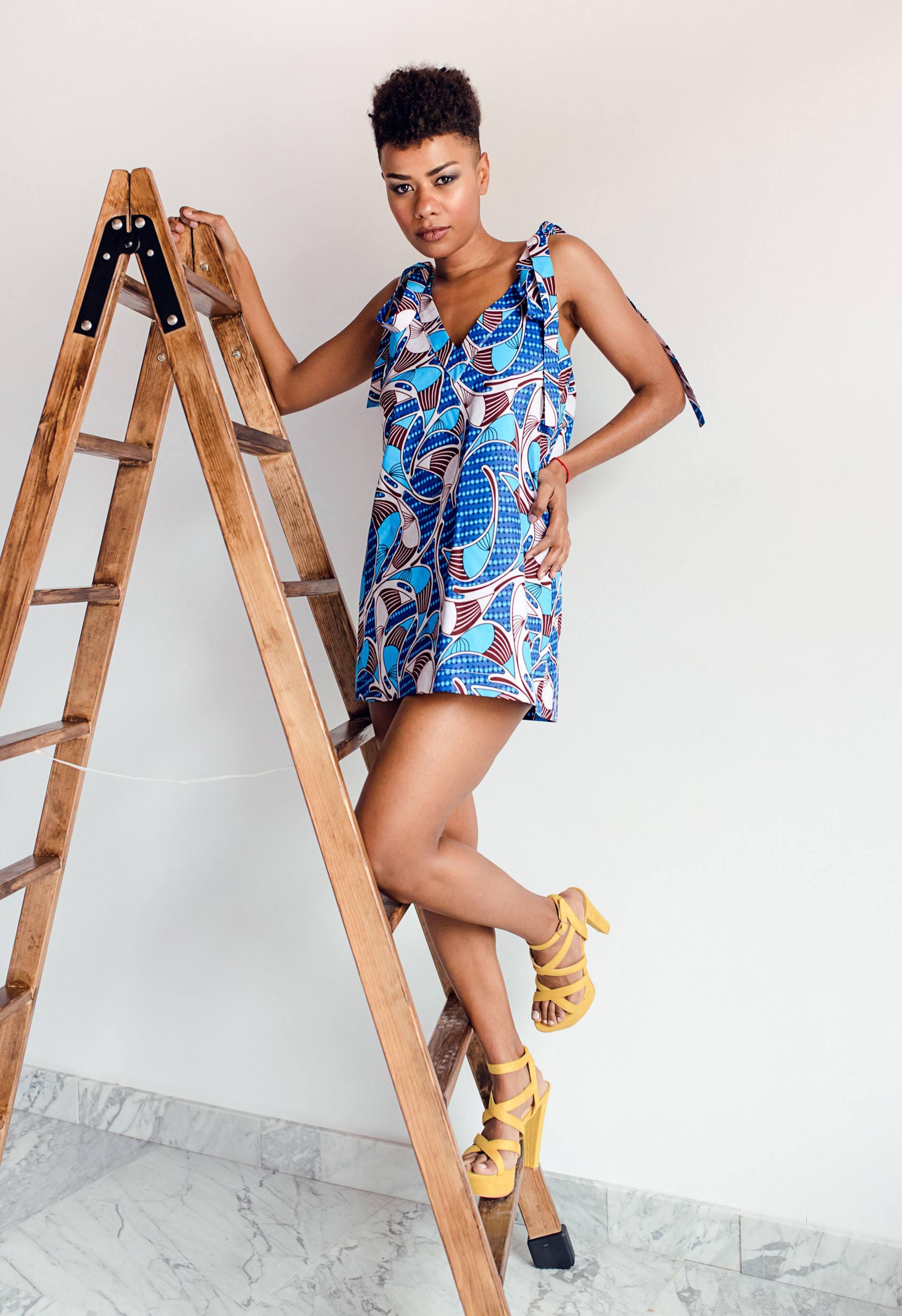 Vestido mini tejido étnico africano