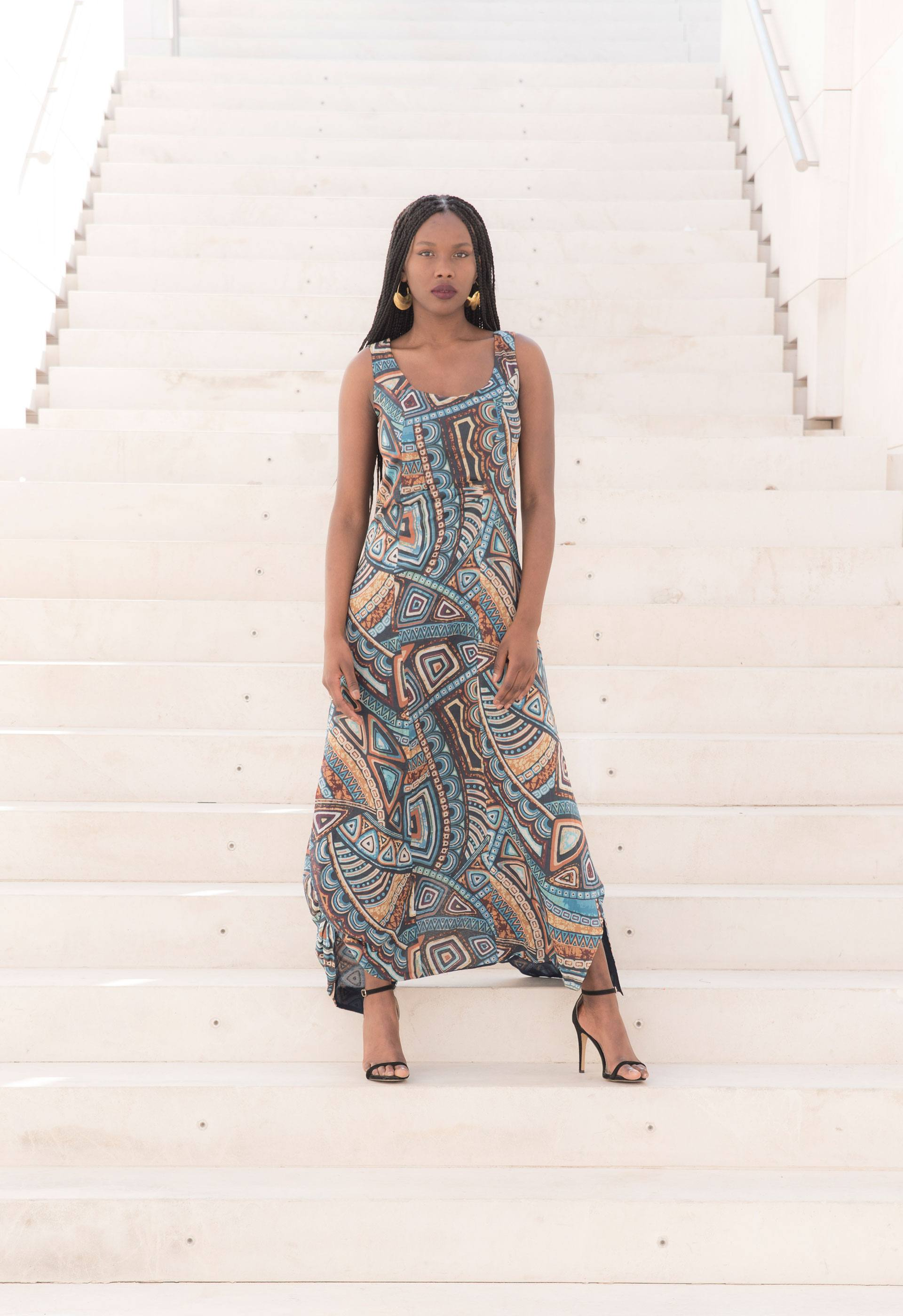 PRÊT À PORTER-NEW LIMITED EDITION - VESTIDOS ÉTNICOS - Vestido largo con tejido étnico africano