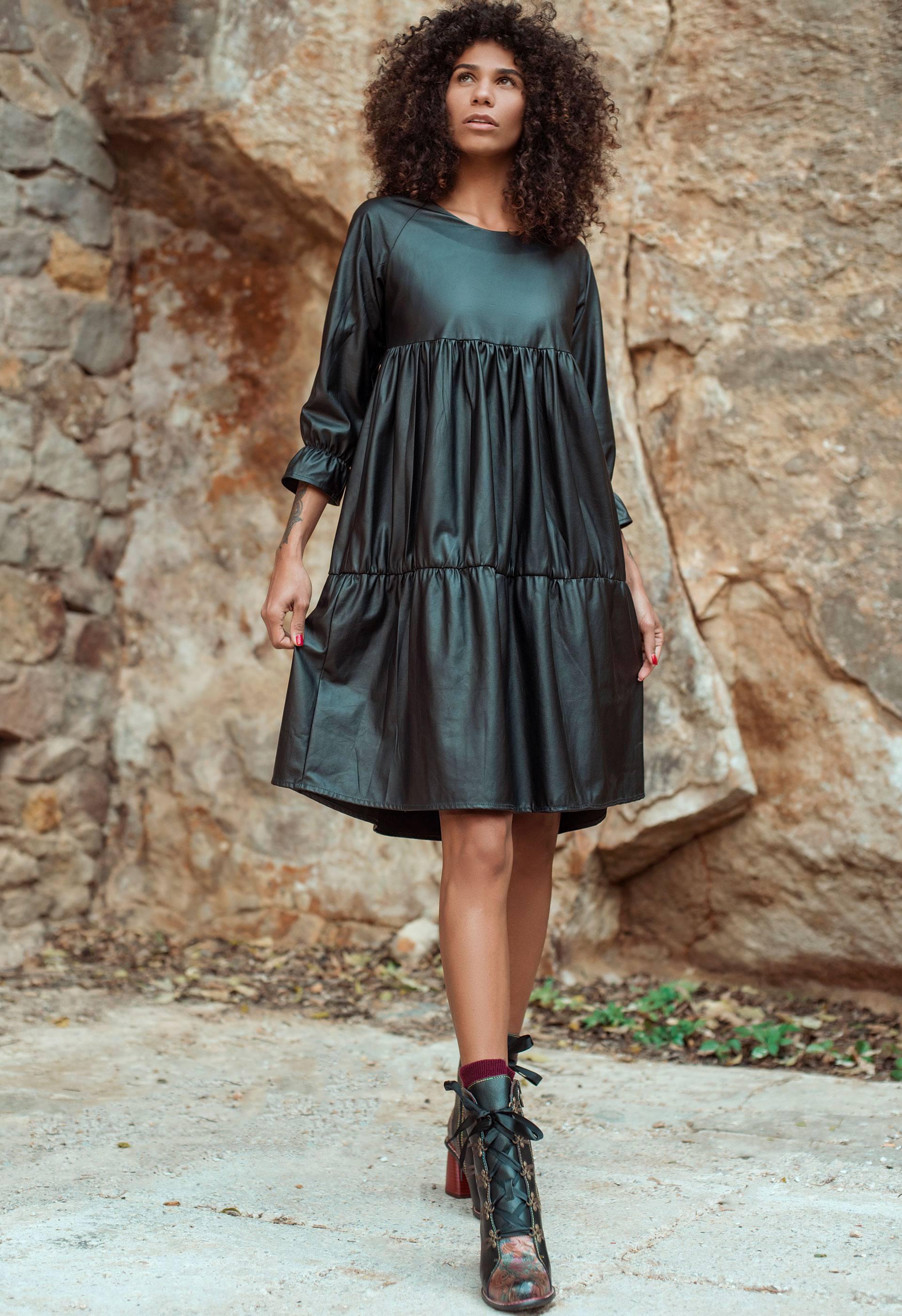 PRÊT À PORTER-REBAJAS - VESTIDOS, MONOS - Vestido negro de eco piel IO DREAMS