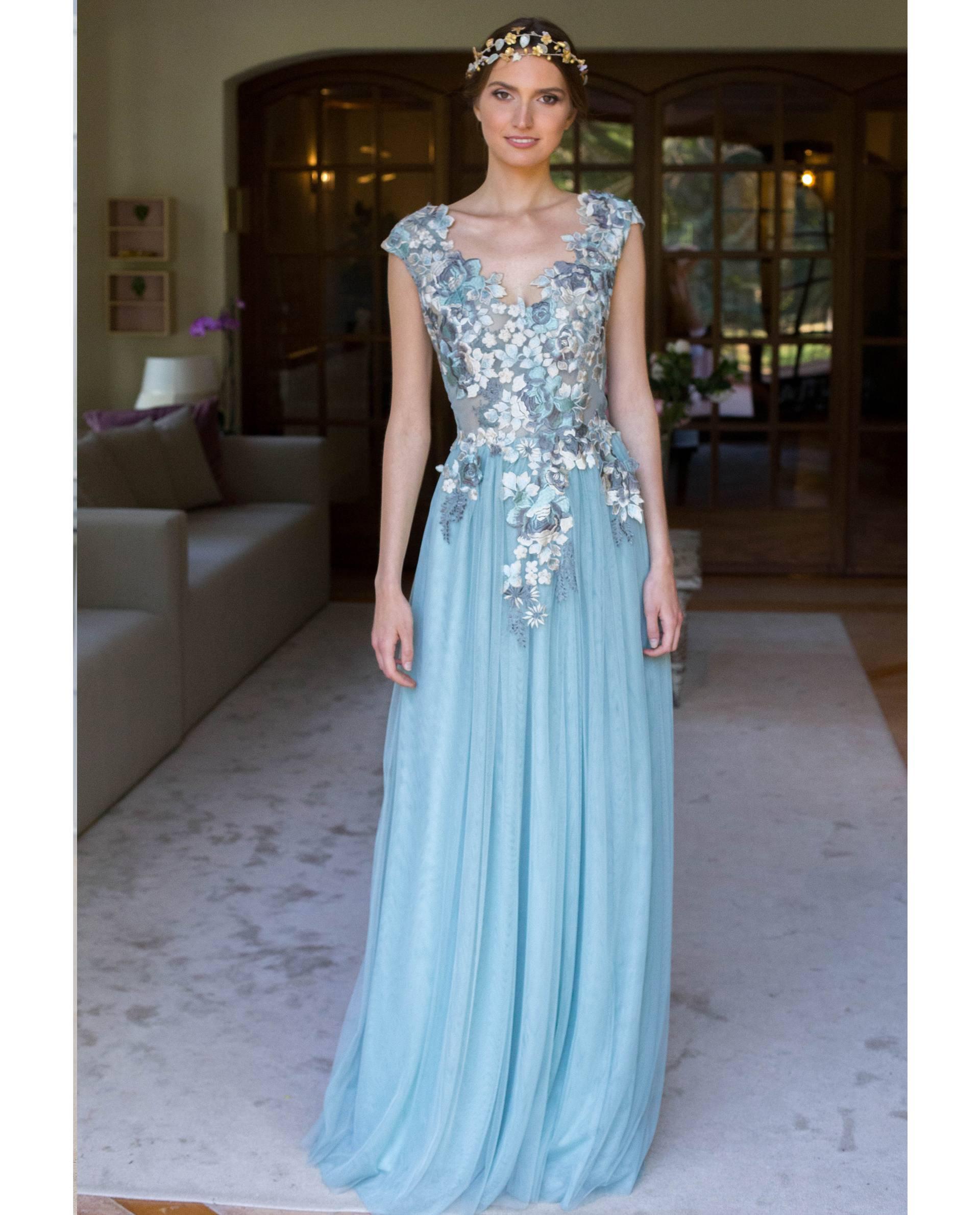 ATELIER-NATURE 2019 - VESTIDOS - vestido fiesta JOSÉPHINE azul