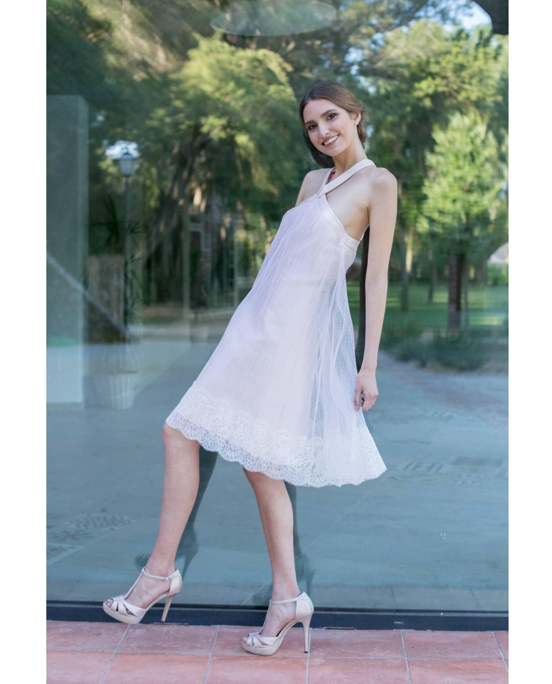 vestido fiesta VALENTINA blanco