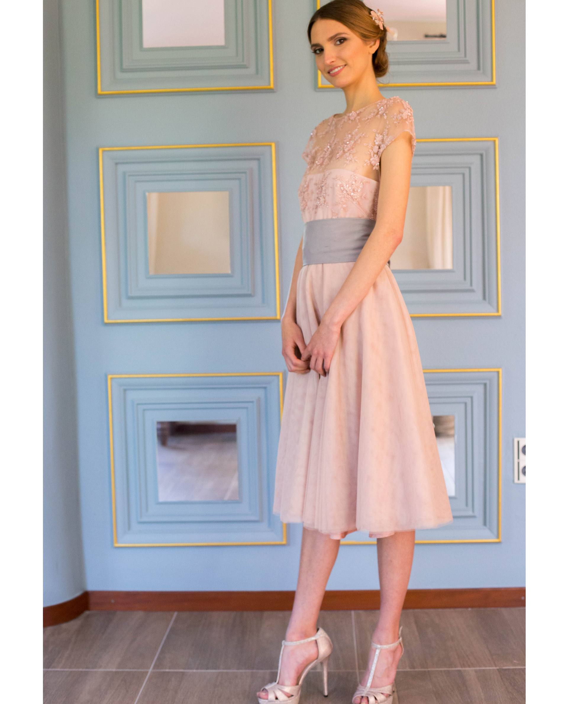ATELIER-NATURE 2018/19 - VESTIDOS - vestido fiesta CAROLA rosa palo