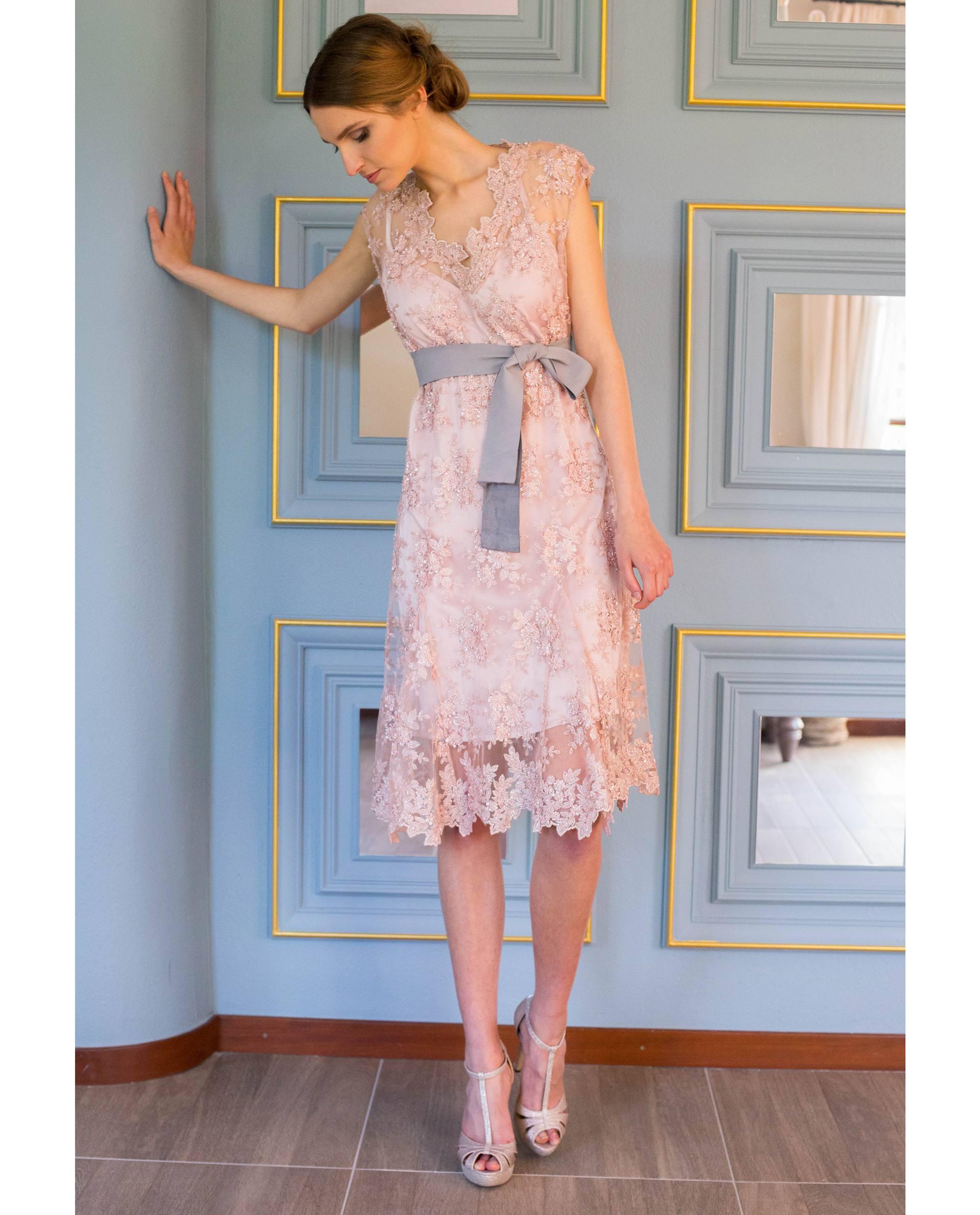 ATELIER-NATURE 2018/19 - VESTIDOS - vestido fiesta LUCIE rosa palo