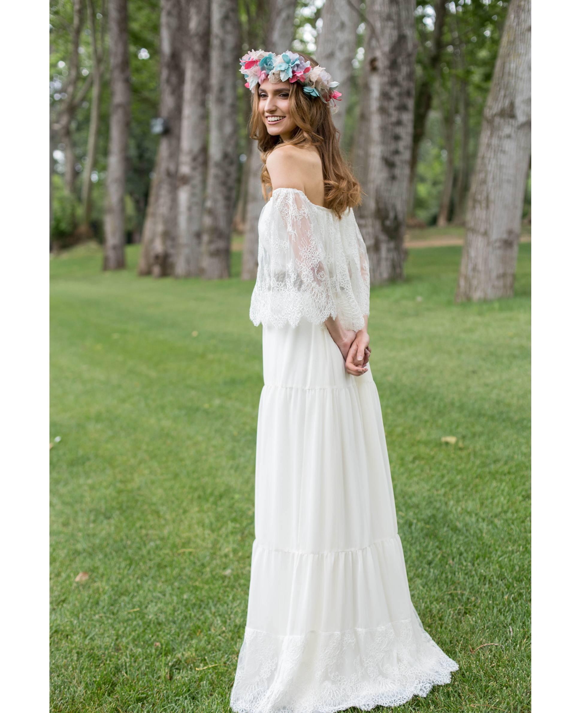 Vestido de novia Frida mangas de encaje sin hombros